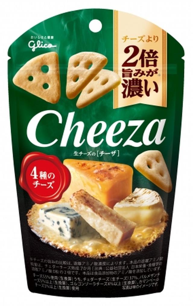 画像: 製品名:『生チーズのチーザ<4種のチーズ>』 内容量:40g 希望小売価格:180円(税別) 特長: 4種のチーズを53%も練り込んだ新感覚のおつまみスナックです。チェダーチーズ、パルメザン、ゴルゴンゾーラ、カマンベールの4種のチーズをバランスよくブレンドしました。 一枚口に入れた瞬間、濃厚な旨み、生チーズの本格的な味わいが、口いっぱいに広がります。
