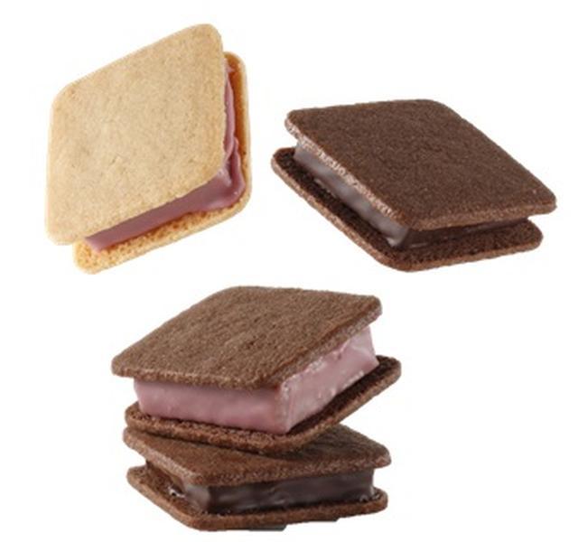 """画像: 『バニラビーンズ』ショーコラルビーアソート1,512円/1箱(4個入) 香り高い濃厚なガナッシュを、バターたっぷりサクサクのクッキーでサンドしたオリジナルスイーツの""""ショーコラ""""。ルビーチョコレートを使用した2種のフレーバー(ハニーレモン・フランボワーズ)と定番のマイルドカカオとリッチミルク4種の詰め合わせです。"""