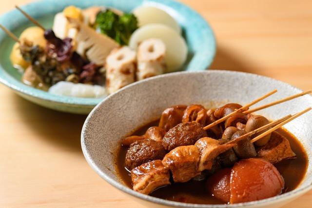 画像: 定番の江戸前澄み出汁とデミ味噌出汁の2色おでん