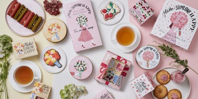 画像1: 【Afternoon Tea】桜やいちごを楽しむ「Sweets & Tea Gift」、お花のブーケや桜を描いた春限定パッケージで新発売