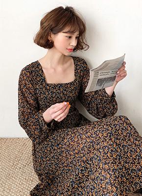 画像: [DHOLIC] スクエアネック花柄ワンピース・全2色ドレス・ワンピ レディースファッション通販 DHOLICディーホリック [ファストファッション 水着 ワンピース]
