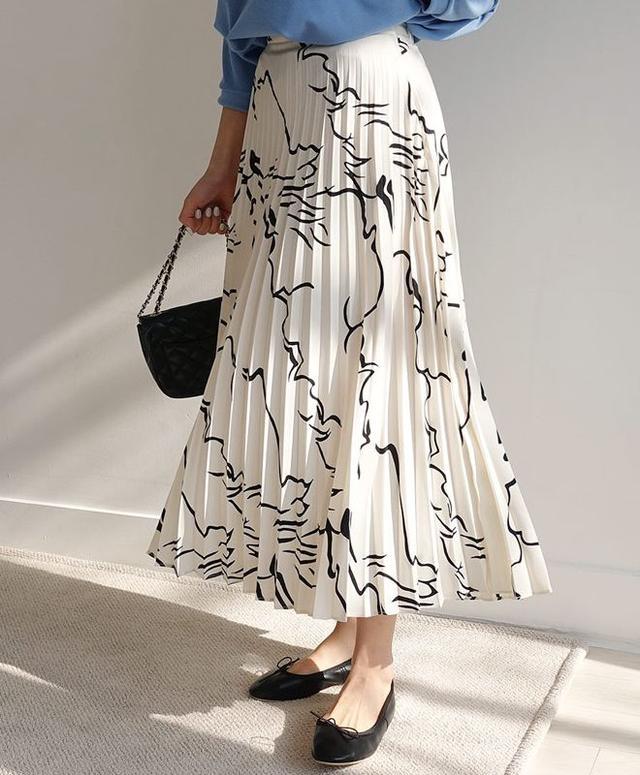 画像: ユニークパターンプリーツスカート・全2色・ t56126・¥5,740(税抜)