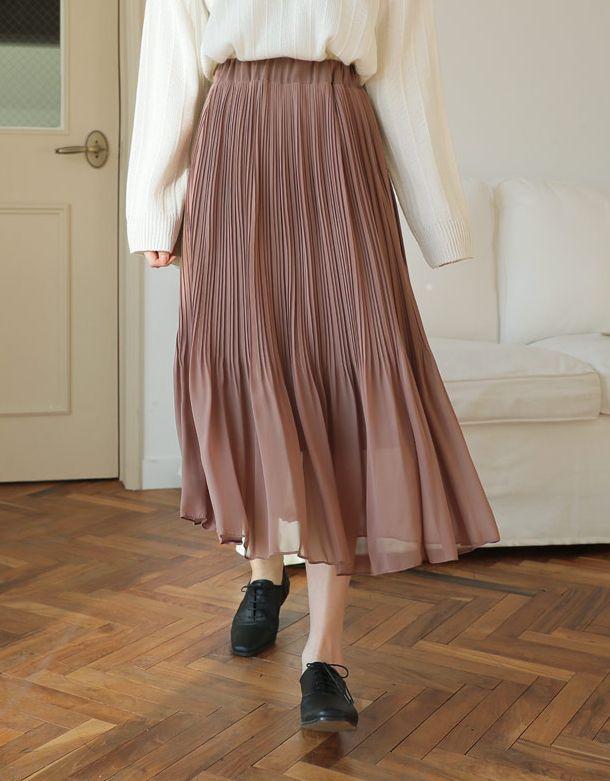画像: シフォンウエストゴムプリーツスカート・全3色・ t52633・¥3,700(税抜)