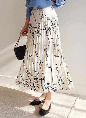 画像: [DHOLIC] ユニークパターンプリーツスカート・全2色 レディースファッション通販 DHOLICディーホリック [ファストファッション 水着 ワンピース]