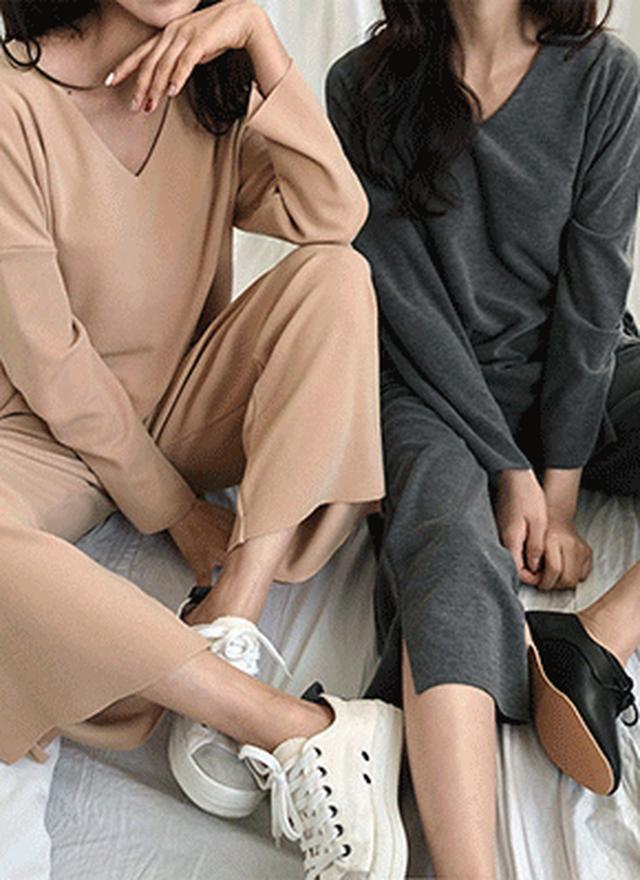 画像: [DHOLIC] スリットVネックTシャツ&イージーワイドパンツSET・全3色パンツ・ズボンパンツ・ズボン レディースファッション通販 DHOLICディーホリック [ファストファッション 水着 ワンピース]
