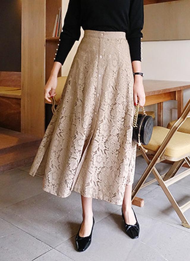 画像: [DHOLIC] ボタンレースフレアスカート・全3色 レディースファッション通販 DHOLICディーホリック [ファストファッション 水着 ワンピース]