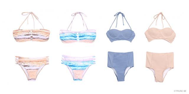 画像: 左)Marin Marble Swimwear ¥9,720 右)Pleating Cup Swimwear ¥10,800