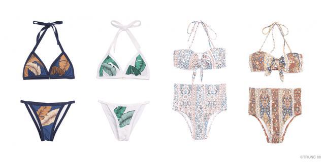 画像: 左)Leaf Triangle Swimwear ¥9,720 右)Moroccan Halter Swimwear ¥9,720