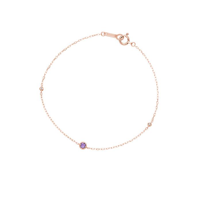 画像: 〈ブレスレット〉 【2月誕生石】K10ピンクゴールド ブレス レット 価格:¥18,000+税 ピンクゴールドの細いチェーンと涼し気な 石の組み合わせが浴衣にマッチします。 浴衣の色に合わせて、石のカラーを選ん でもステキですね。