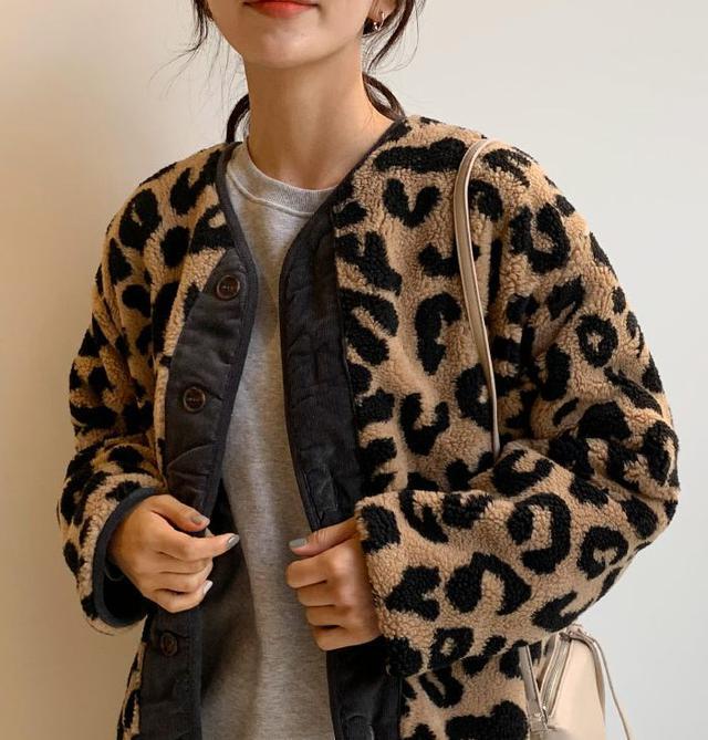 画像: レオパードボアジャケット・全2色・b54102 ¥7,007(税込)