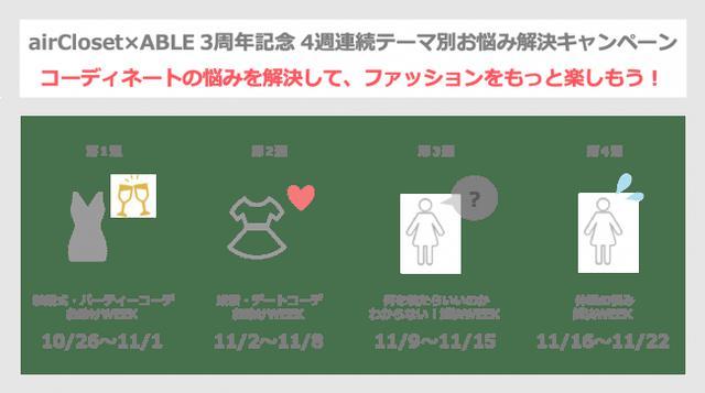 画像1: 『airCloset×ABLE』3周年記念キャンペーン開催! 4週連続テーマ別お悩み解決キャンペーン