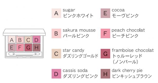 画像: 大きなハートがプレスされた8色は、ギャレンタインズキャンディーの甘い香り。それぞれのカラーには、パーティに欠かせないスウィーツやドリンクの名前をつけました。