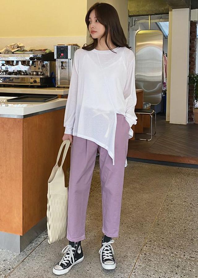 画像: スリットアンバランスTシャツ・全3色・t60742 ¥3,267(税込)