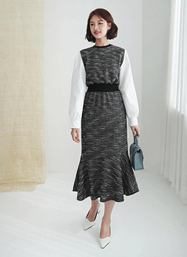 画像: [DHOLIC] コントラストツイードワンピース・全2色ワンピース・スカート|レディースファッション通販 DHOLICディーホリック [ファストファッション 水着 ワンピース]