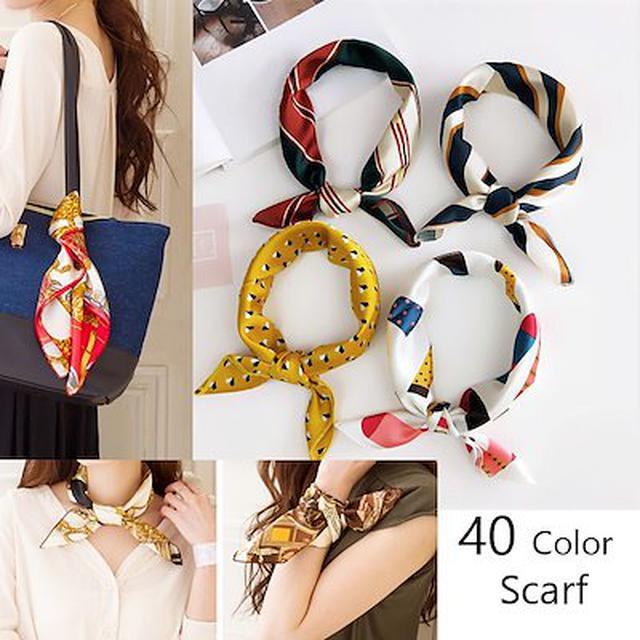 画像: [Qoo10] 選べる40色正方形型 スカーフ リボンス... : バッグ・雑貨