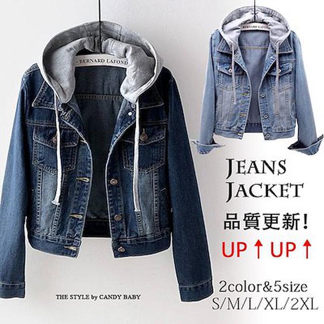 画像: [Qoo10] 春先取り韓国ファッションフード付きデニム... : レディース服