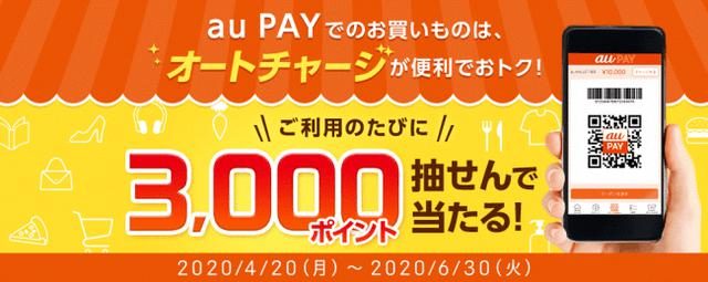 画像1: au PAY 残高へのauじぶん銀行オートチャージ利用で3,000ポイントをプレゼントする生活応援企画を実施