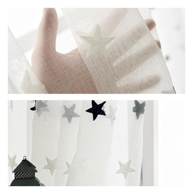 画像1: 星柄レースカーテン