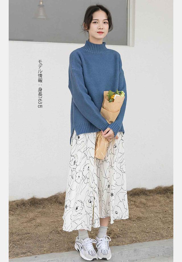 画像: おすすめコーデ② 肌寒い日はニット×柄スカートの大人ガーリーコーデー