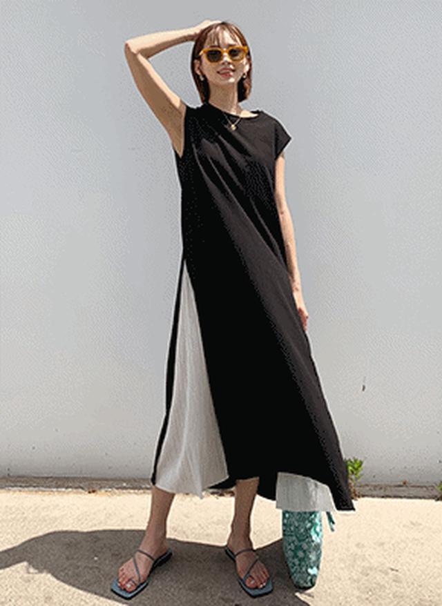 画像: [DHOLIC] サイドプリーツワンピース・全1色ドレス・ワンピ|レディースファッション通販 DHOLICディーホリック [ファストファッション 水着 ワンピース]