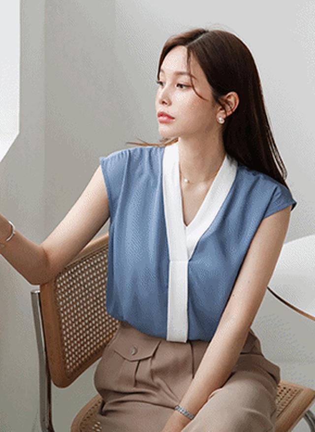 画像: [DHOLIC] Vネック配色ブラウス・全3色シャツ・ブラウスシャツ・ブラウス|レディースファッション通販 DHOLICディーホリック [ファストファッション 水着 ワンピース]
