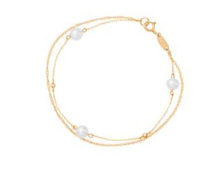 画像: パールとダイヤモンドを添えたブレスレット。2連のデザインチェーンが手元を華やかな印象に。 K10イエローゴールドブレスレット 価格 ¥30,000+税