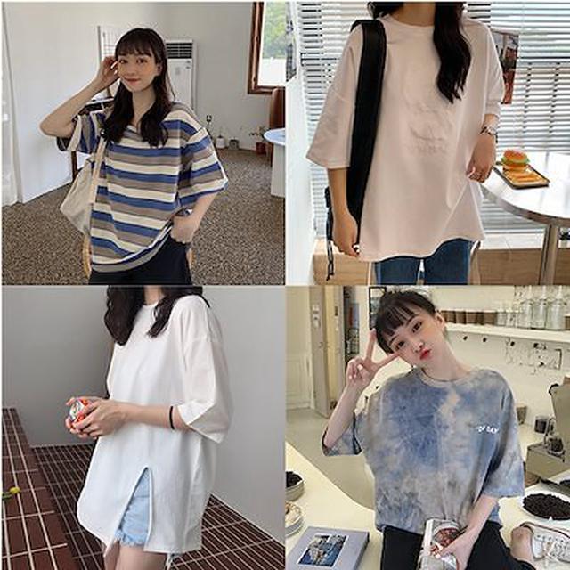 画像: [Qoo10] Tシャツ 半袖 タイダイ 染め Tシャツ : レディース服