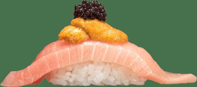 画像: 『つかみ寿司 〜本鮪とろウニランプフィッシュキャビア〜』 一貫300円(+税)