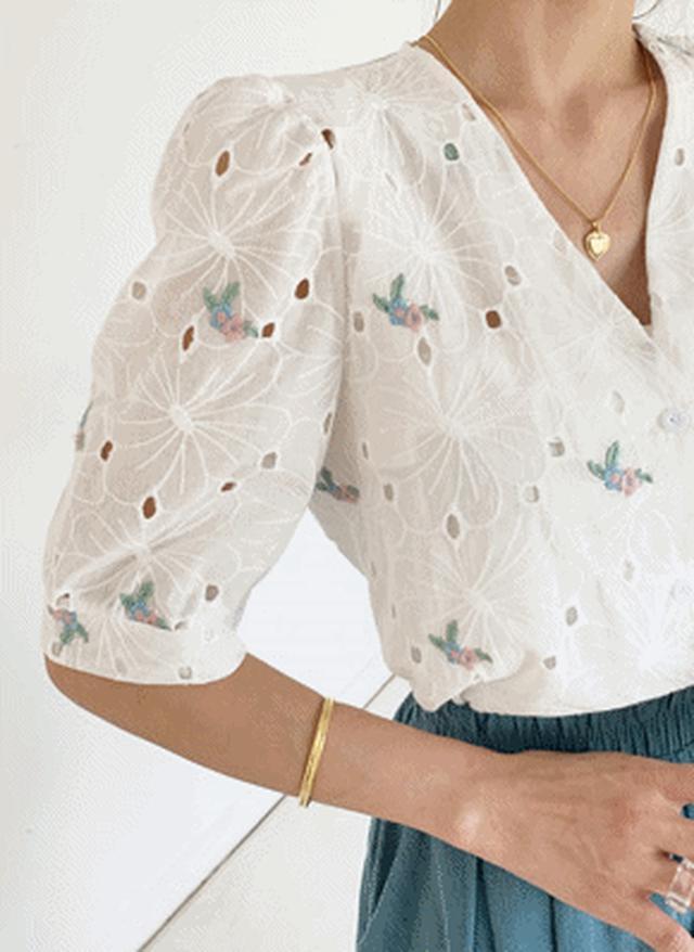 画像: [DHOLIC] 刺繍アイレットレースブラウス・全2色シャツ・ブラウスブラウス・チュニック|レディースファッション通販 DHOLICディーホリック [ファストファッション 水着 ワンピース]