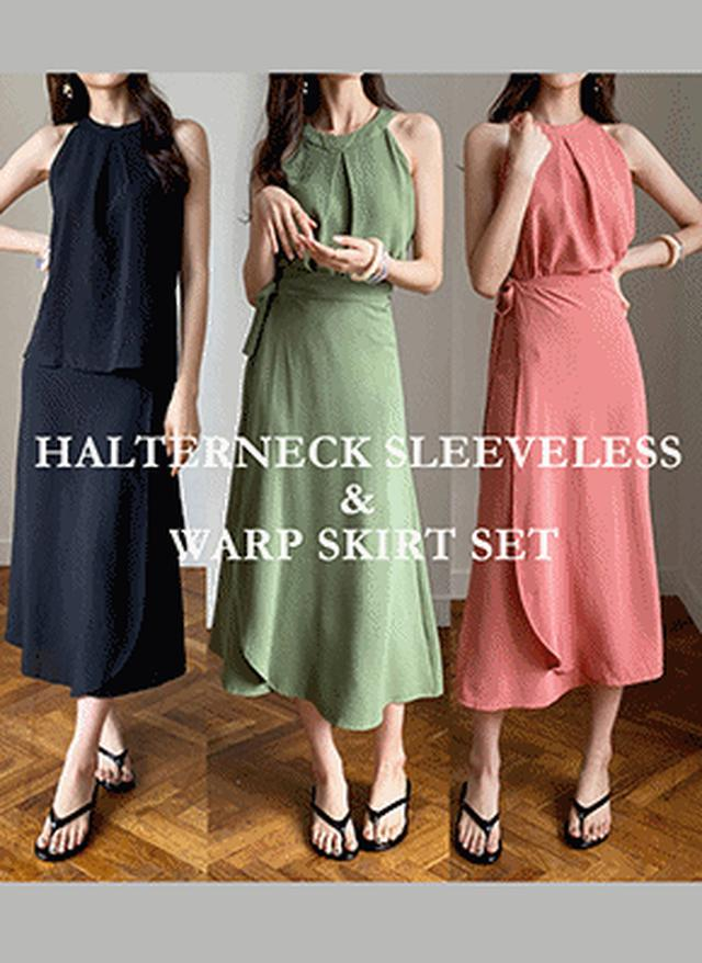 画像: [DHOLIC] タックスリーブレス&スカートSET・全4色ドレス・ワンピ|レディースファッション通販 DHOLICディーホリック [ファストファッション 水着 ワンピース]