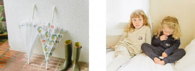 画像: (右)ビニール傘 各¥1300+税 (左)キッズルームウェア 各¥5990+税(WEB限定)
