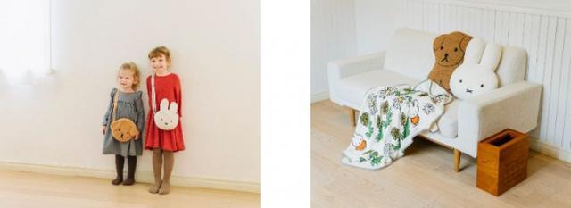 画像: (左)ボアショルダーバッグ 各¥2700+税 ※8月13日発売予定 (右)シルエットクッション 各¥2800+税 ブランケット ¥3200+税 ダストBOX ¥4500+税