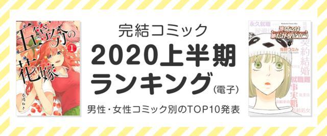 画像: honto「完結コミック 2020年上半期ランキング(電子)」発表