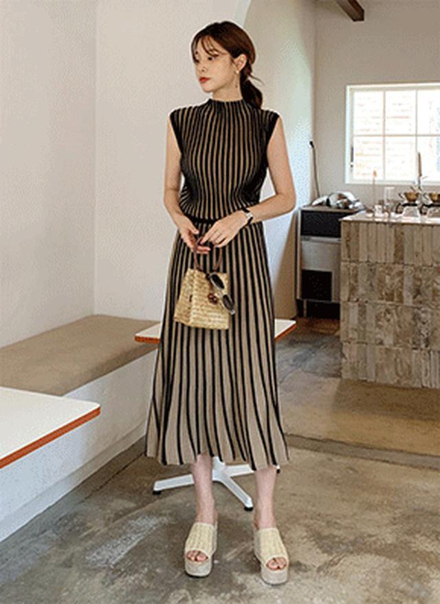 画像: [DHOLIC] ニットストライプスリーブレス&スカートSET・全5色ワンピース・スカート|レディースファッション通販 DHOLICディーホリック [ファストファッション 水着 ワンピース]