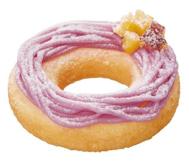 """画像2: 新食感ドーナツが登場!おいしさムチッ!HOTでモチッ!秋の味覚を存分に楽しめる、""""紫芋モンブラン""""と""""メープル""""の2つのフレーバー"""
