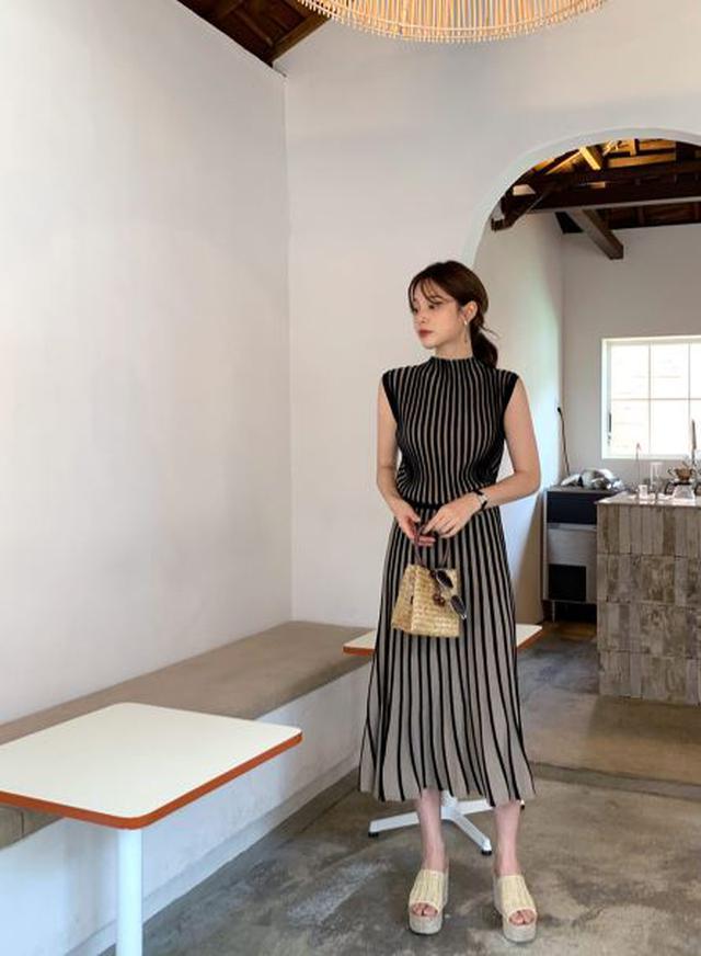 画像1: ニットストライプスリーブレス&スカートSET ¥7,656 (税込)