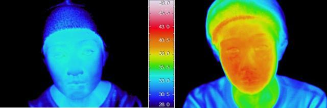 画像: 温スチームを全顔にあて、使用開始から10分後の皮膚表面温度。(左:ヤーマン従来品、右:本製品)