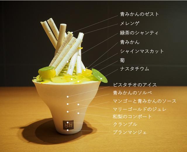 画像2: 摘果みかん・シャインマスカット・ 緑茶・マリーゴールド・ピスタチオ… 「緑」と「香り」を重ねたパフェ
