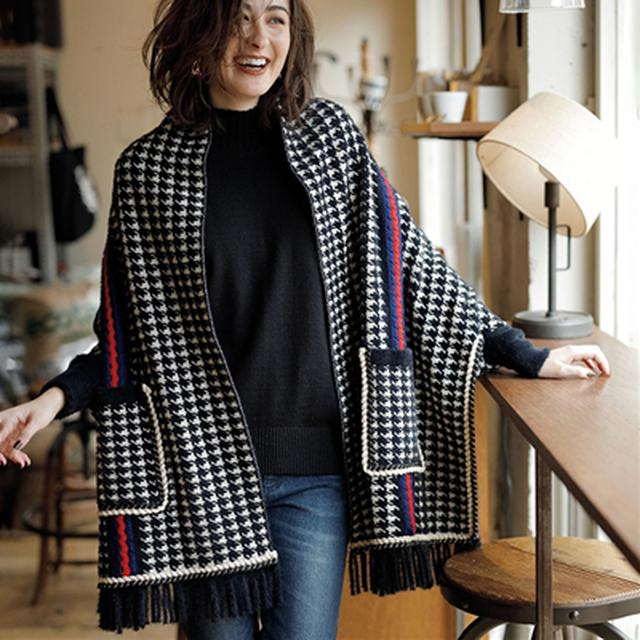 画像: ポケット付ニットポンチョ│ベルーナ - ファッション通販