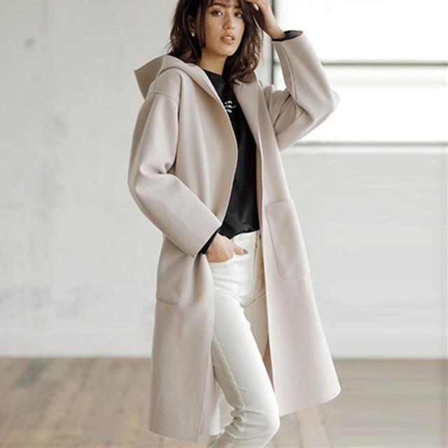 画像: ふわ軽!ウールライクフーデットコーディガン│ベルーナ - ファッション通販