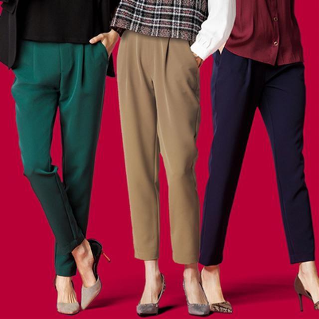 画像: 美脚シルエットタックパンツ│ベルーナ - ファッション通販