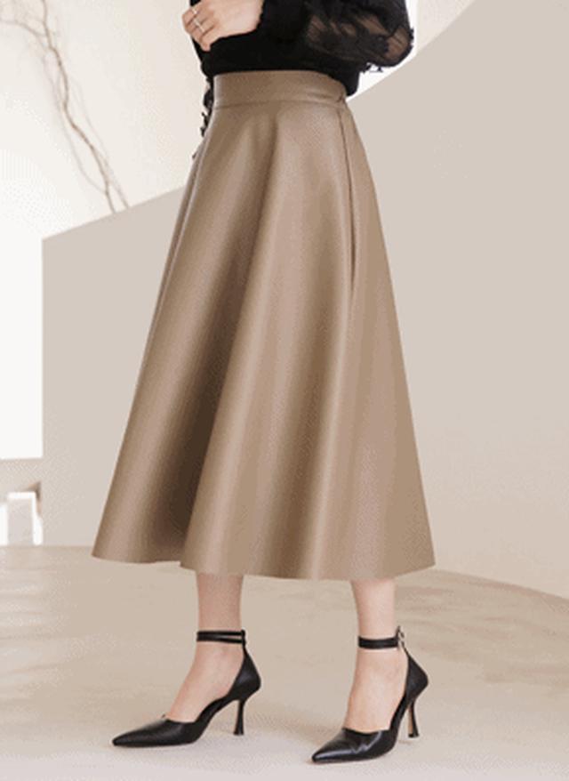 画像: [DHOLIC] レザー調フレアスカート・全2色|レディースファッション通販 DHOLICディーホリック [ファストファッション 水着 ワンピース]