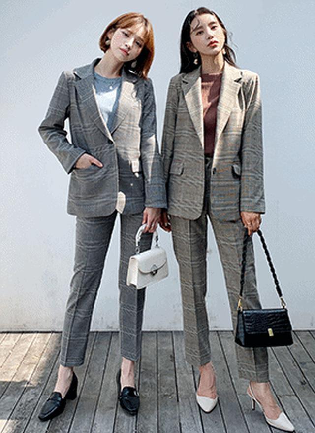画像: [DHOLIC] チェックジャケット&スラックスSET・全2色パンツ・ズボンパンツ・ズボン|レディースファッション通販 DHOLICディーホリック [ファストファッション 水着 ワンピース]