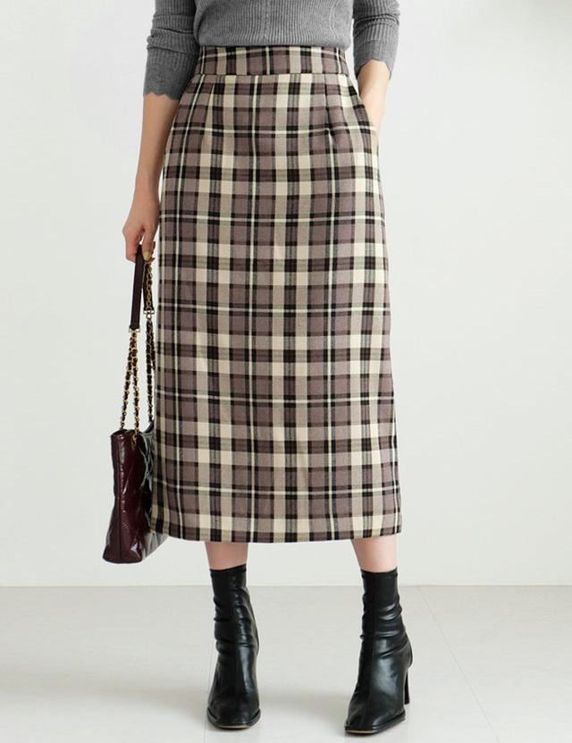 画像1: チェックHラインスカート ¥5,455 (税込)