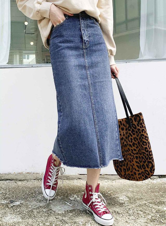 画像1: デニムHラインスカート ¥3,898 (税込)