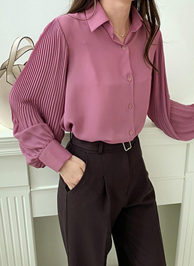 画像: [DHOLIC] スリーブプリーツブラウス・全3色シャツ・ブラウスシャツ・ブラウス|レディースファッション通販 DHOLICディーホリック [ファストファッション 水着 ワンピース]