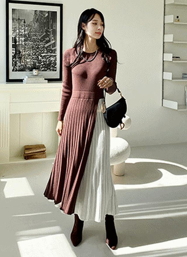 画像: [DHOLIC] 配色プリーツニットワンピース・全2色ワンピース・スカート|レディースファッション通販 DHOLICディーホリック [ファストファッション 水着 ワンピース]