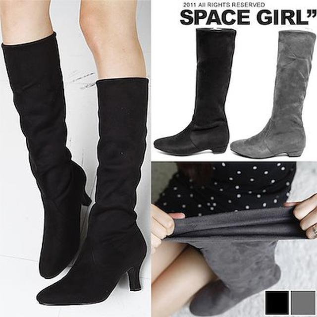 画像: [Qoo10] [2TYPE][3cm/7cm]スエードスパンブーツシャーリング/ハイヒール/パンプス/靴/ノーマル/ショートブーツ/女性の冬の秋シューズ/新作/レースアップブーツワーク/ブーティーブーツ