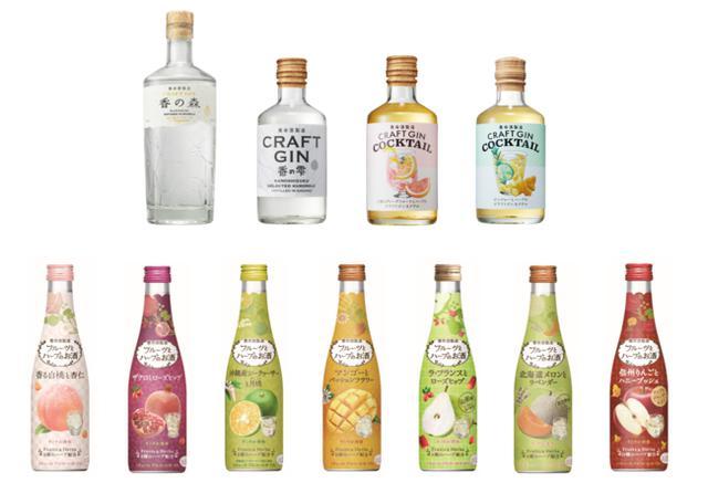 画像: 上段左から、香の森、香の雫、2 種のグレープフルーツとハーブのクラフトジンカクテル、ジンジャーとハーブのクラフトジンカクテル 下段、フルーツとハーブのお酒シリーズ 上段左から、香の森、香の雫、2 種のグレープフルーツとハーブのクラフトジンカクテル、ジンジャーとハーブのクラフトジンカクテル 下段、フルーツとハーブのお酒シリーズ