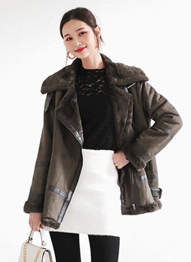 画像: [DHOLIC] バックルムートン調コート・全3色アウターコート|レディースファッション通販 DHOLICディーホリック [ファストファッション 水着 ワンピース]